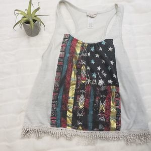Flag tank top with decorative bottom